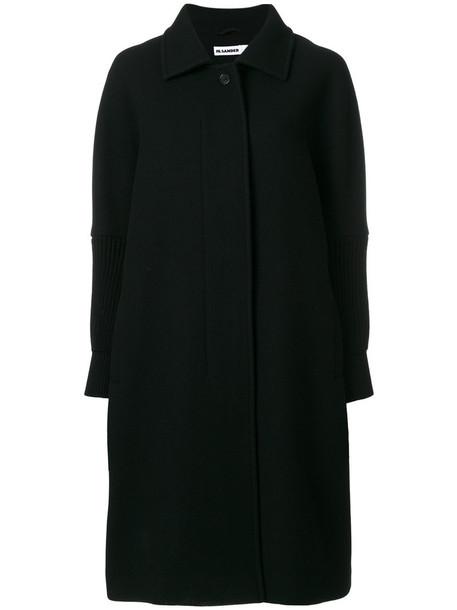 Jil Sander coat oversized coat oversized women black silk wool