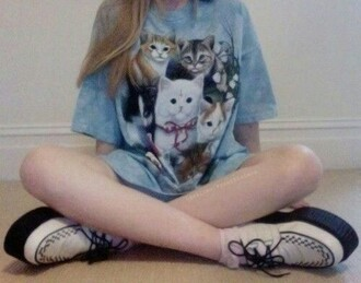 top cats blue t-shirt grunge pale grunge soft grunge pastel grunge kitty kitties pastel soft pale aesthetic
