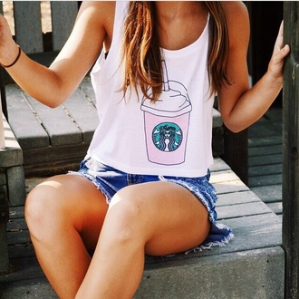 tank top top white white top starbucks coffee summer top summer outfits shorts denim