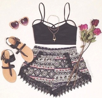 top bralette cut-out tank top crop tops necklace gold aztec indie print outfit sandals sunglasses hippie hipster boho bohemian tumblr weheartit shorts