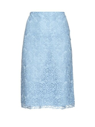 skirt pencil skirt lace light blue light blue