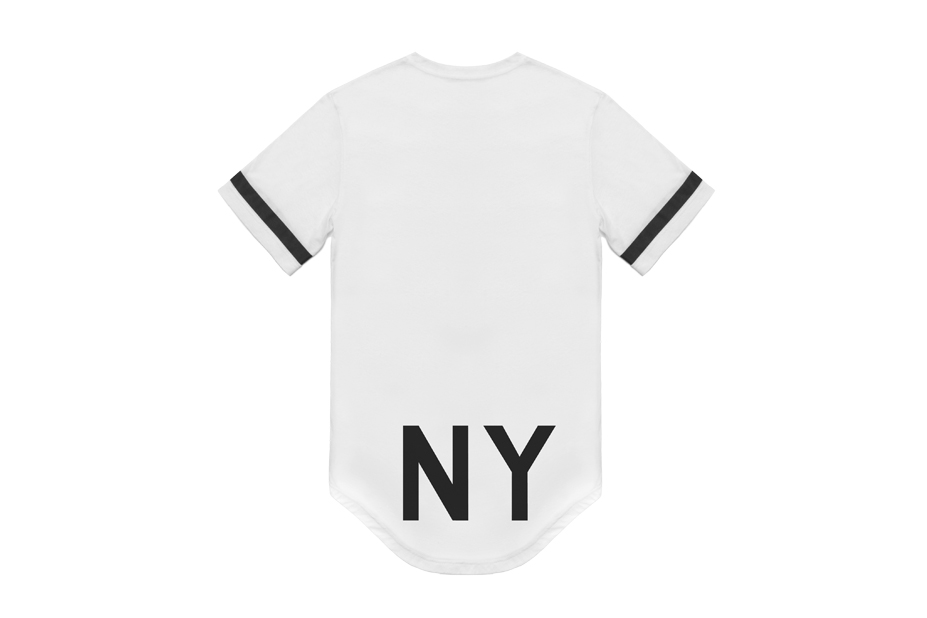 White elongated ny tee