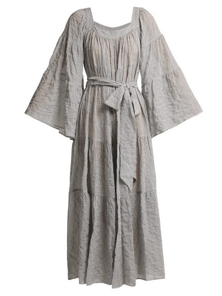 Lisa Marie Fernandez - Tiered Seersucker Dress - Womens - Black Stripe