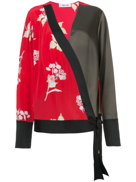 Dvf Diane Von Furstenberg blouse women print silk red top