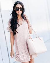 dress,tumblr,mini dress,pink dress,short sleeve dress,bag,tote bag,pink bag,sunglasses,tortoise shell sunglasses,tortoise shell