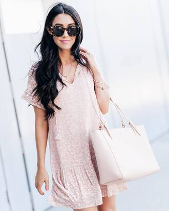 dress tumblr mini dress pink dress short sleeve dress bag tote bag pink bag sunglasses tortoise shell sunglasses tortoise shell