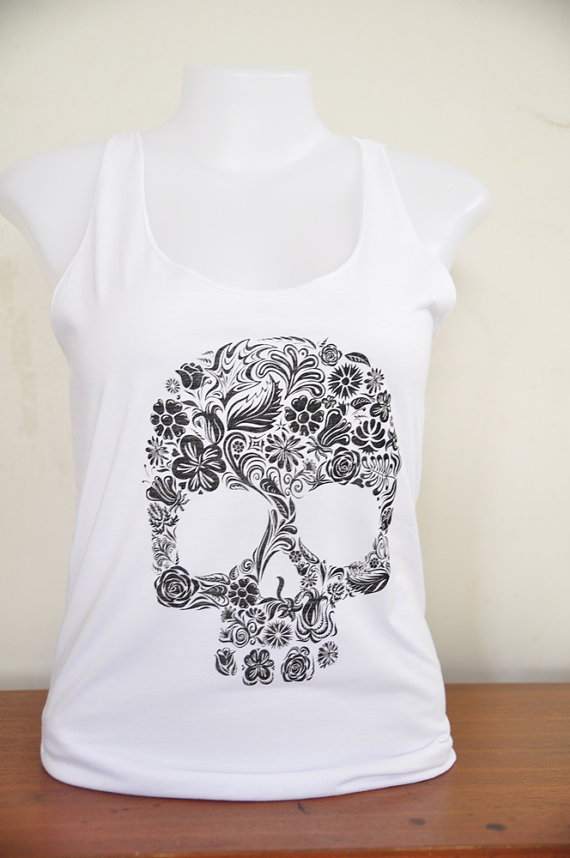Skull flower tank top by amitashop on etsy
