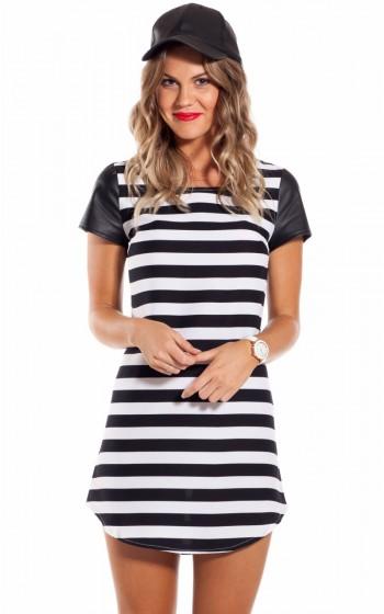 Boat party dress in  black  stripe