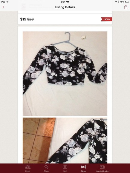 white top roses crop tops black floral t shirt long sleeve