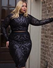 dress,glitter,black dress,two piece dress set,plus size dress