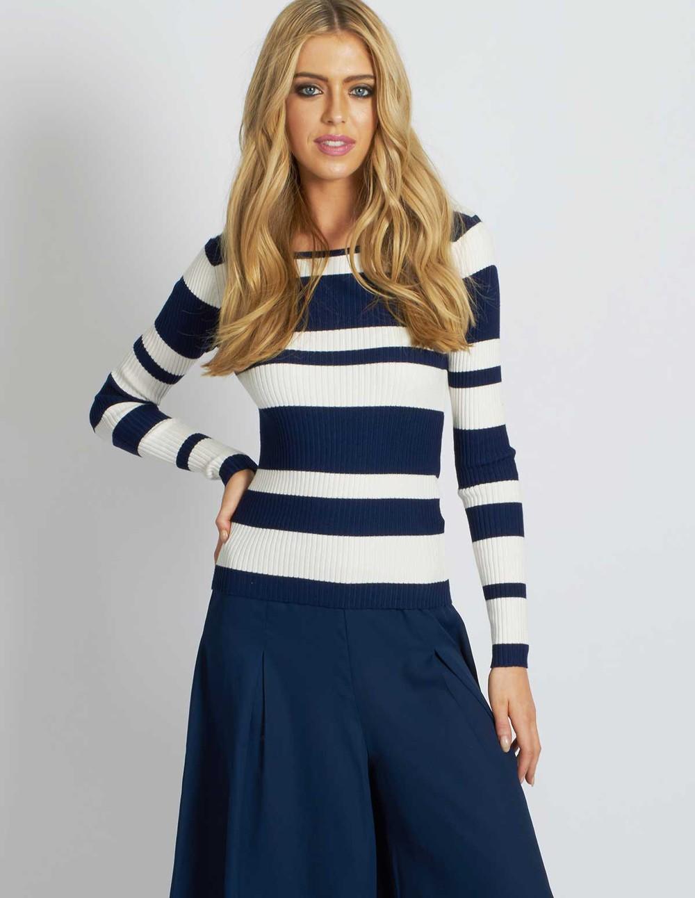 Blue Vanilla MOTKA - Stripe Ribbed Navy Top