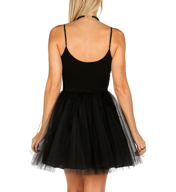 Black tulle party dress