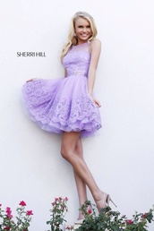 dress,lilac dress,short,spring,sherri hill purple(lilac) lace short prom dress,purple lace dresses,purple prom dresses,lilac prom dresses,lilac short homecoming dresses,prom dress,navy,sherri hill,homecoming dresses 2016,homecoming dress