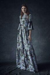 dress,bell sleeve dress,bell sleeves,maxi dress,printed dress,long dress,blue dress