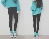sweater,shoes,blue sweater,jeans,black jeans,light blue,black and blue,pants,blue shirt,blouse,winter sweater,top,sweat,oversized sweater,sky blue sweat,turquoise,swag,ariana grande,grande,love,fall outfits