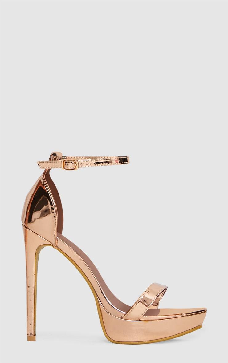 Rose Gold Platform Strap Heeled Sandal