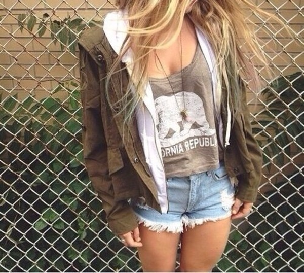 Jacket: olive, shorts, shirt, cargo jacket, army green jacket, soft ...