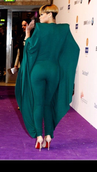 dress christian loubiton bodysuit rihanna sexy green jumpsuit red bottoms