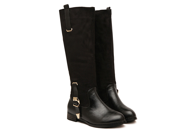 Wholesale Casual Women's Knee High Boots With Buckle and Splicing Design (BLACK,39), Boots - Rosewholesale.com