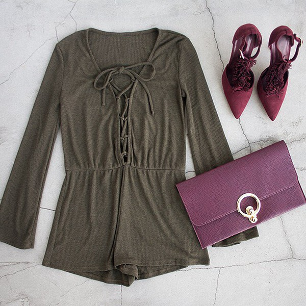 afeae805098 romper jumpsuit olive green lace up burgundy accessories heels clutch gold  ootn outfit idea gojane.