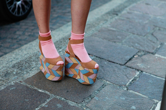 shoes high heels platform shoes blue pink cute pink socks brown mustard yellow light blue