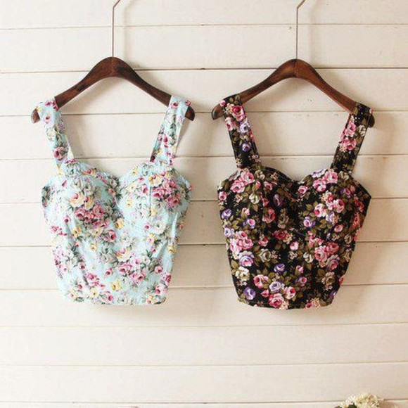floral top shirt bandeau floral tank top skirt clothes cute floral t-shirt summer outfits love girl vintage bustier hipster fashion floral tank top floral bustier crop tops blouse bralette floral crop top floral shirt floral top summerish summer outfits summer top belly pink blie tropical floral