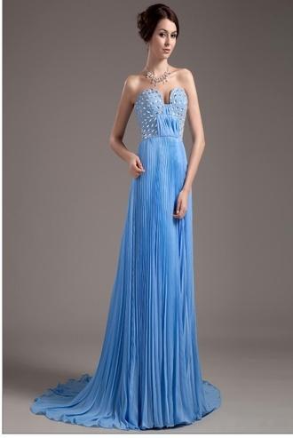 clothes dress prom dress blue draped draped pleated blue dress embellished sweetheart dresses 2014 prom dresses long prom dress