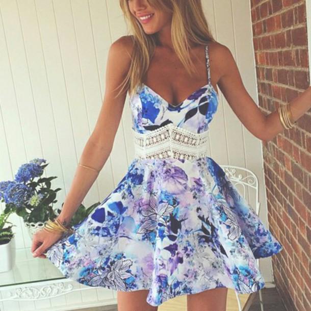 1769c30ace dress flowers blue dress floral dress lace dress summer dress summer outfits  purple dress blue cute