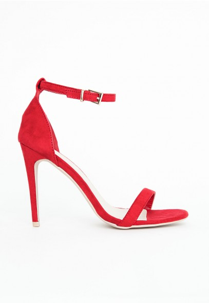 Clara Suede Strappy Sandals In Red - Footwear - Sandals - Missguided