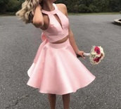 dress,pink dress,bow dress,two piece dress set,homecoming dress,square neckline,satin dress