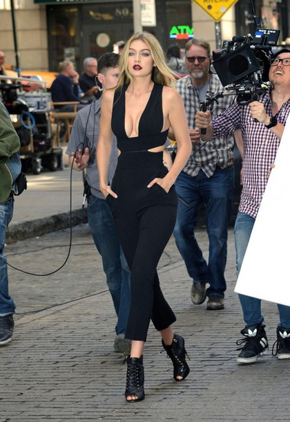 jumpsuit gigi hadid all black everything booties plunge v neck pants shoes backless jumpsuit