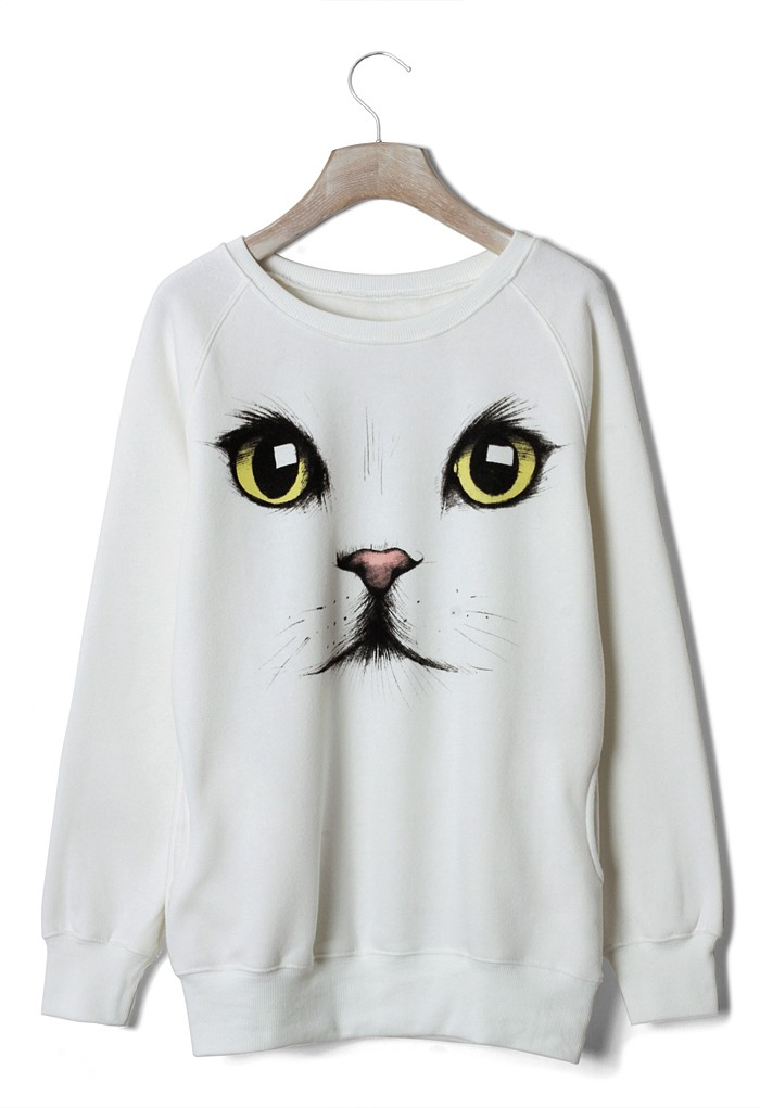 White Sweater - White Cat Print Sweater with | UsTrendy