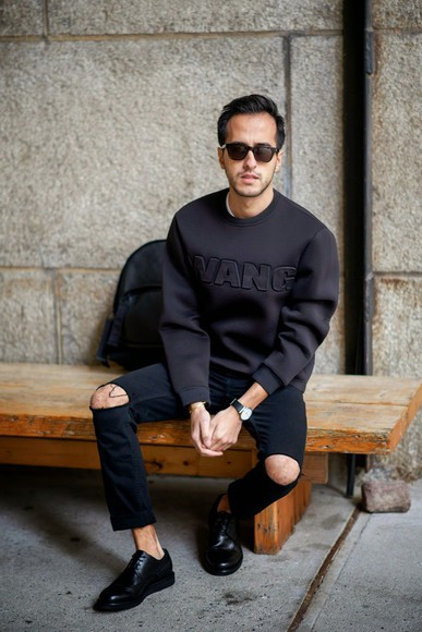 backpack menswear blogger the metro man ripped jeans jumper hipster menswear black jeans