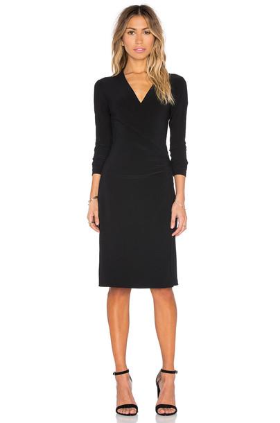 Norma Kamali KAMALIKULTURE Long Sleeve Side Draped Dress in black