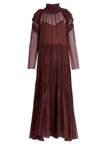 271cdc02c7 CHLOÉ Floral-smocked silk-crepon midi dress in burgundy - Wheretoget