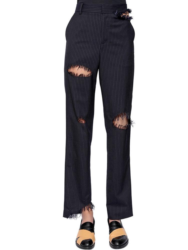 FACETASM Destroyed Pinstriped Wool Blend Pants in navy