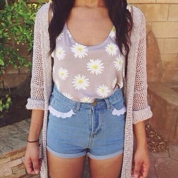shorts t-shirt cardigan flowers frill high waisted frilly shorts