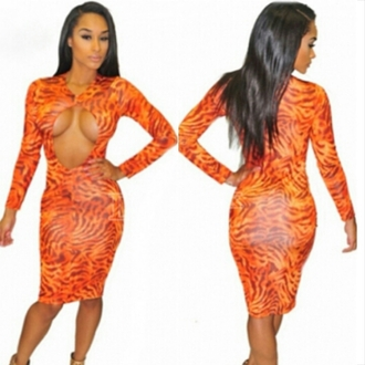 dress open front bodycon dress bodycon dress sexy long sleeve dress cut-out dress keyhole dress sexy dress midi dress fiery orange fire zebra print cut-out hollow dress hollow sexy bodycon dresses keyhole