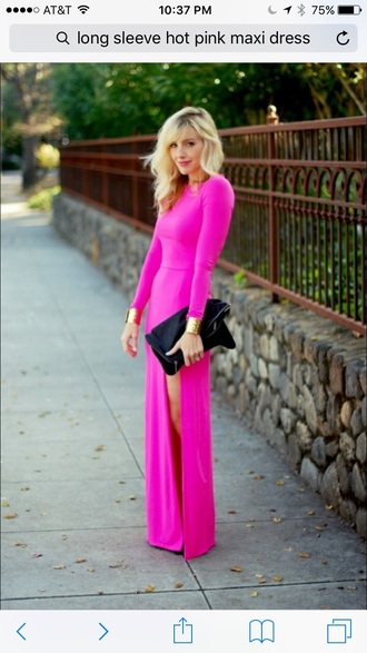 dress long sleeves hot pink maxi dress