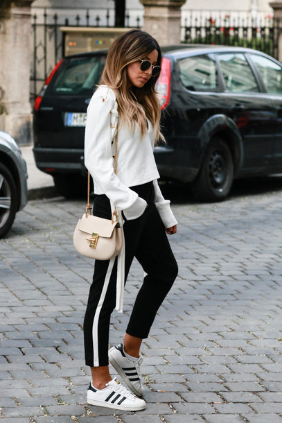 Pants Tumblr Side Stripe Pants Sneakers White Sneakers