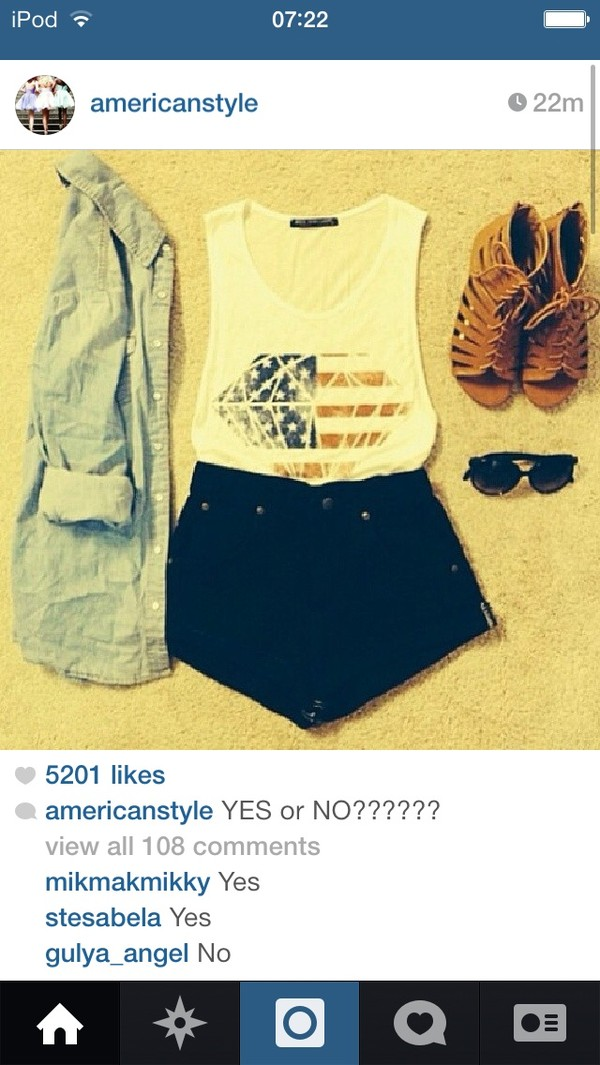 shirt flat sandals american flag shorts denim jacket shoes