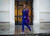 madame julietta,blogger,jumpsuit,bag,purple,sneakers,blue,coat,sweatpants