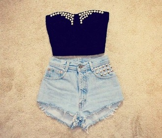 tank top top bralette black rivet rivets shorts blue silver summer outfit clothes hispter festival sleeveless crop tops party girly shirt belly shirt sparkle high waisted shorts