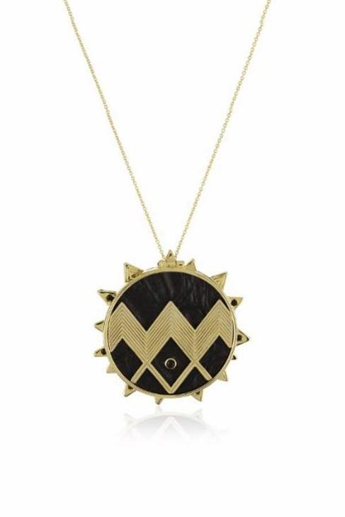 House of harlow 1960 black leather zig zag sunburst necklace