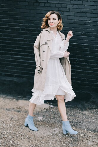 sea of shoes blogger shoes dress coat thick heel boots valentines day tumblr nude coat trench coat white dress midi dress flowy flowy dress boots blue boots ankle boots mid heel boots thick heel block heels