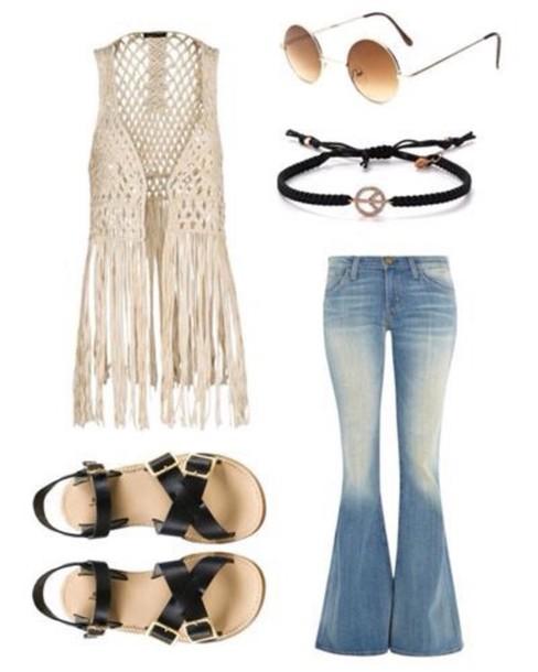 shirt hippie hippy pants hippy shirt hippie glasses fringed top peace bracelet jeans