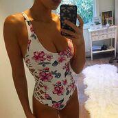 swimwear,frankies bikini,one piece,one piece swimsuit,floral,floral bikini,macrame,macrame detail,seamless,seamless bikini,cheeky,halter straps,multiway straps