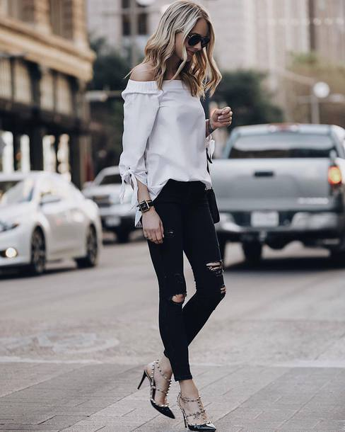 41c4b816a44 blouse tumblr white blouse off the shoulder off the shoulder top denim  jeans black jeans black