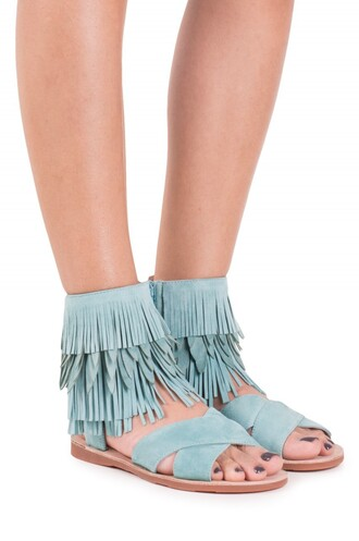 shoes fringe shoes suede baby blue