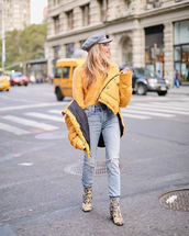 jacket,tumblr,yellow,yellow jacket,sweater,yellow sweater,denim,jeans,light blue jeans,boots,fisherman cap